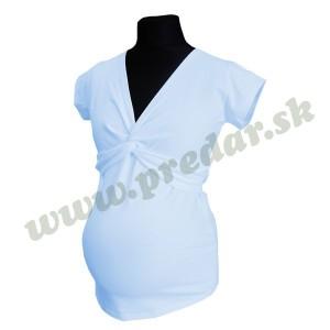 Tehotenské tričko uzlík krátky rukáv